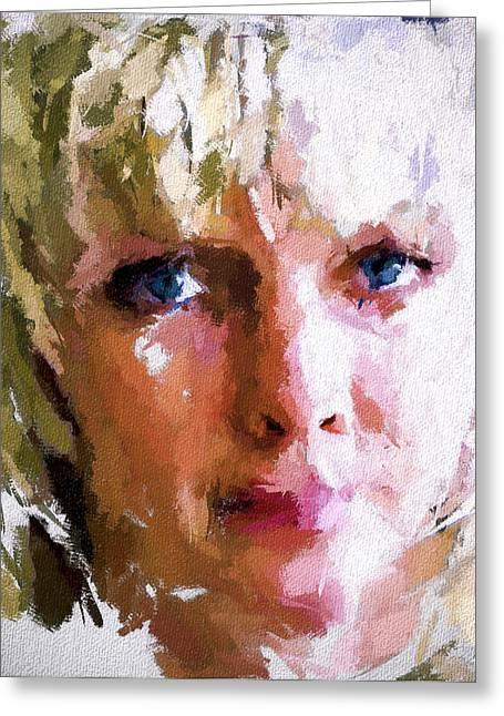 Big Eyes Portrait Greeting Card by Yury Malkov