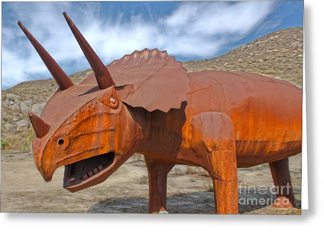 Big Fake Dinosaur - Triceratops Greeting Card
