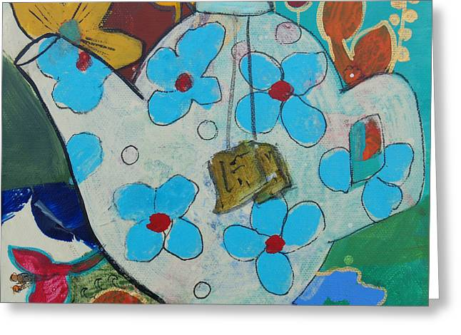 Big Floral Tea Pot Greeting Card