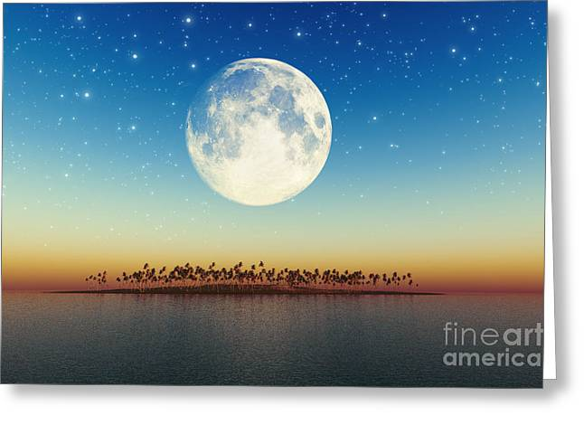 Big Full Moon Behind Island Greeting Card by Aleksey Tugolukov