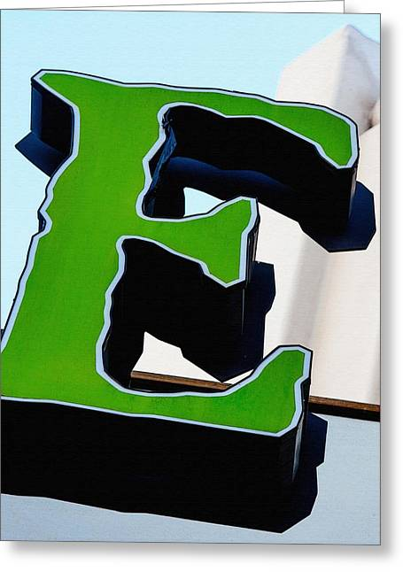 Big Green E Greeting Card by Art Block Collections