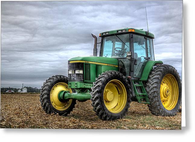 Big Green Tractor Greeting Card by Robert Jones