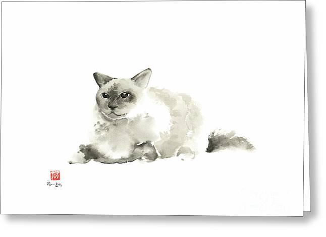 Big Grey Gray Fat Persian Cat Long Hair Fur Cats Pictures Watercolor Painting Greeting Card