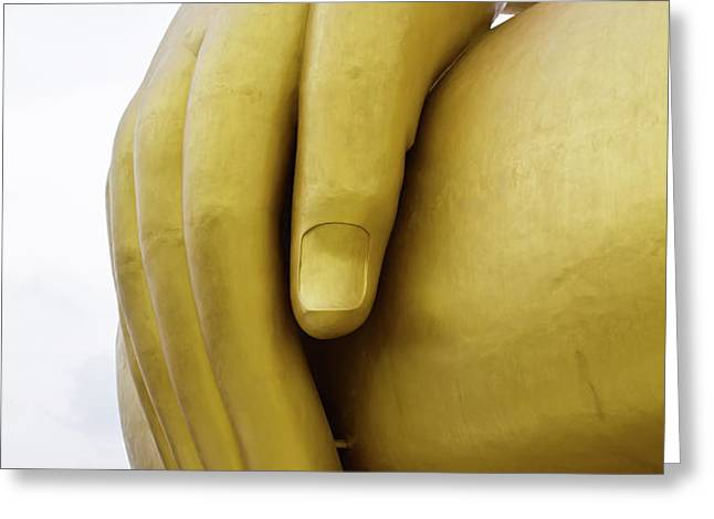 Big hand buddha image Greeting Card by Tosporn Preede