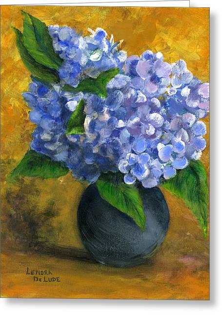Big Hydrangeas In Little Black Vase Greeting Card by Lenora  De Lude
