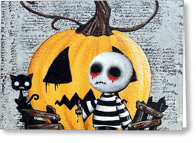 Big Juicy Tears Of Blood And Pain No. 11 The Great Pumpkin Greeting Card by Oddball Art Co by Lizzy Love