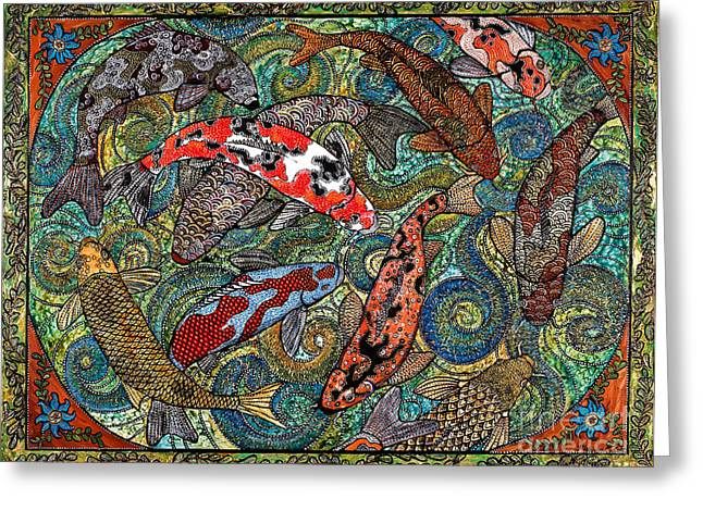Big Koi Pond Greeting Card