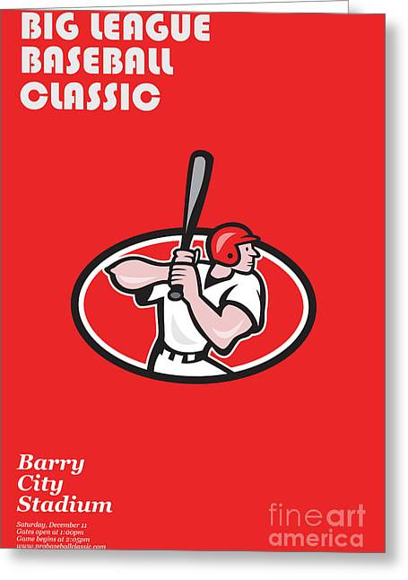 Big League Baseball Classic Poster  Greeting Card by Aloysius Patrimonio