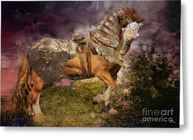 Big Max Dressed And Ready For Battle Greeting Card by Wobblymol Davis