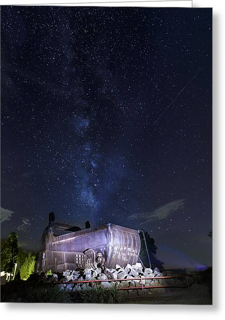 Big Muskie Bucket Milky Way And A Shooting Star Greeting Card by Jack R Perry