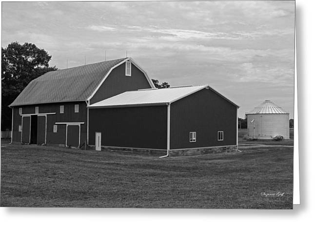 Big Red Barn In Black And White Greeting Card