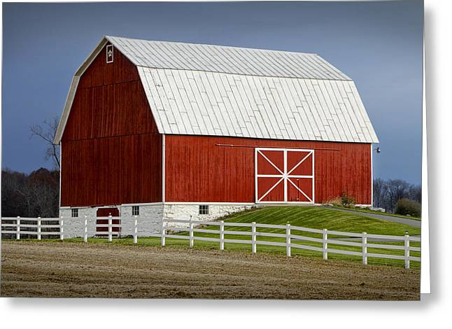 Big Red Barn In West Michigan Greeting Card by Randall Nyhof