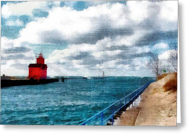 Big Red Big Wind 3.0 Greeting Card by Michelle Calkins