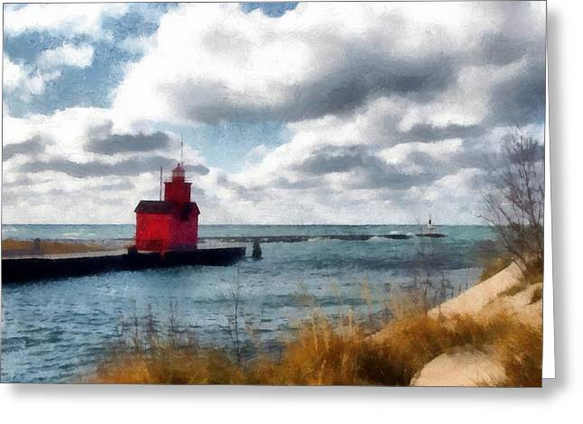Big Red Big Wind Greeting Card by Michelle Calkins