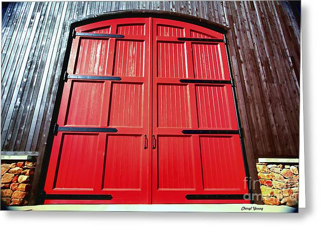 Big Red Doors Greeting Card by Cheryl Young