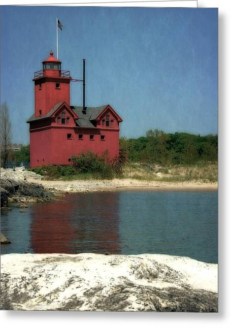 Big Red Holland Michigan Lighthouse Greeting Card by Michelle Calkins