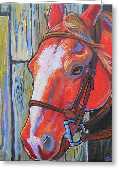 Big Red Greeting Card by Jenn Cunningham