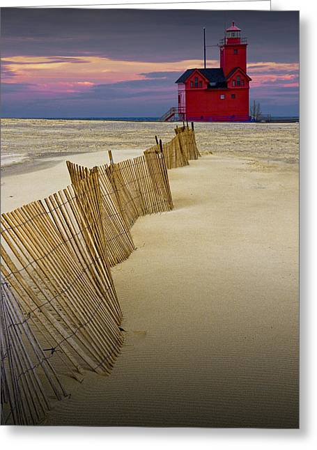 Big Red Lighthouse With Sand Fence At Ottawa Beach Greeting Card by Randall Nyhof