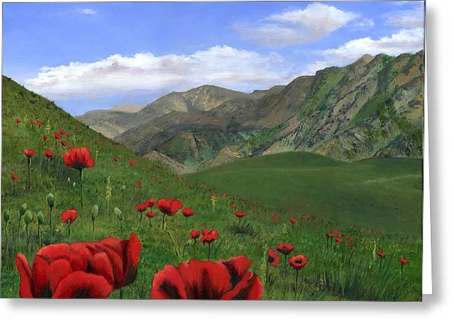 Big Red Mountain Poppies Greeting Card