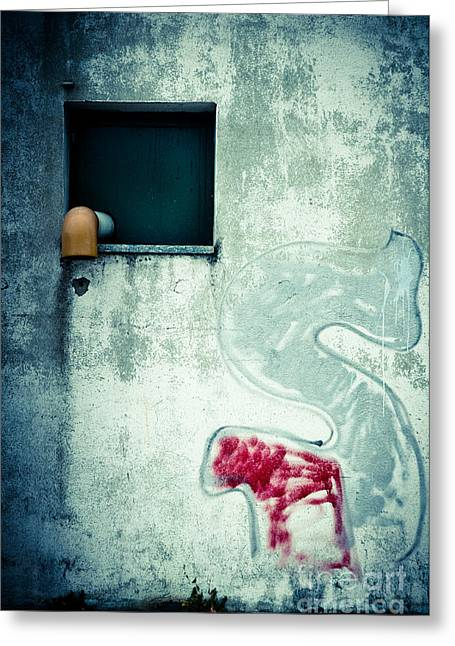 Big S With Window Pipe And Red Spray Greeting Card by Silvia Ganora