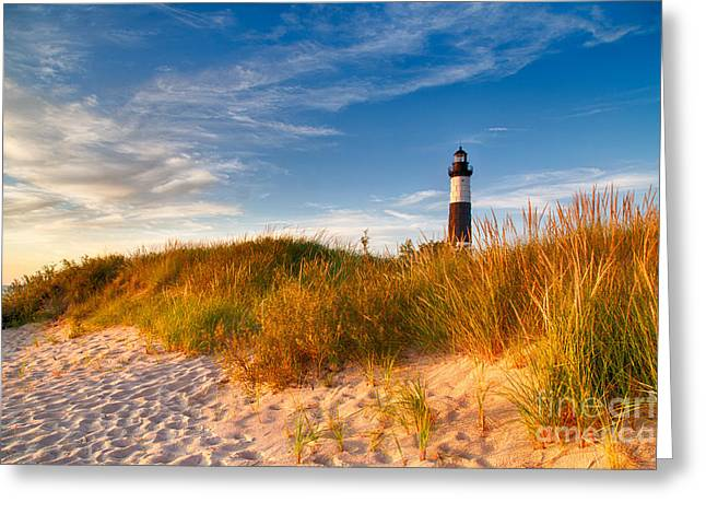 Big Sable Light Around Sunset Greeting Card by Twenty Two North Photography