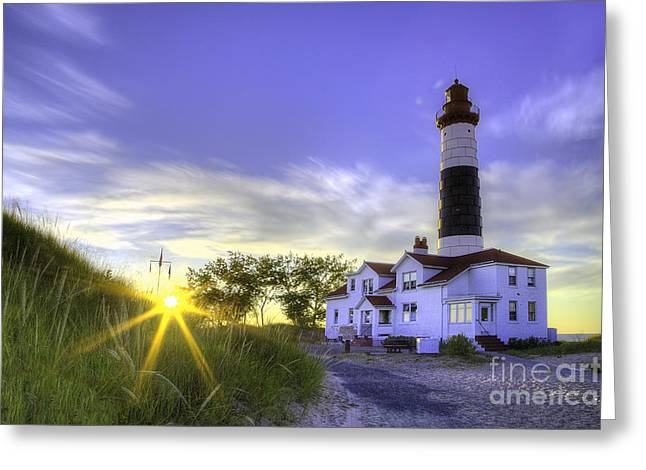 Big Sable Lighthouse Sunset Greeting Card by Twenty Two North Photography