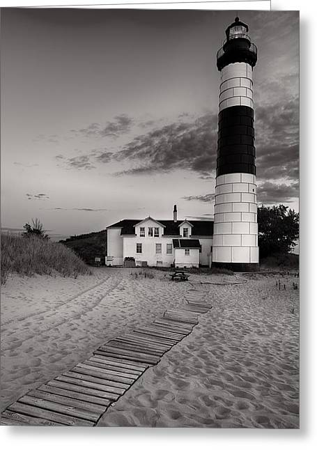 Big Sable Point Lighthouse In Black And White Greeting Card by Sebastian Musial