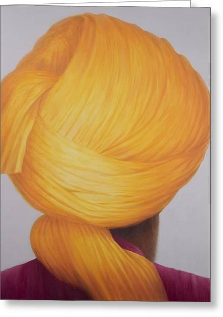 Big Saffron Turban Greeting Card