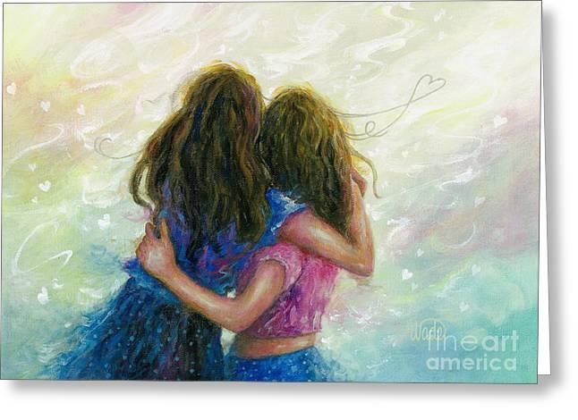 Big Sister Hug Greeting Card by Vickie Wade