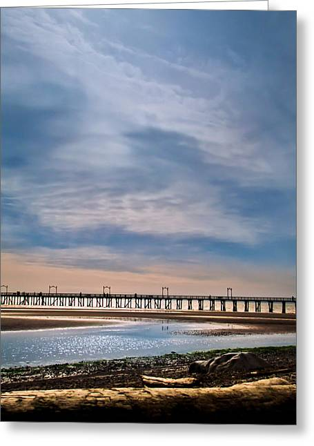 Big Skies Over The Pier Greeting Card