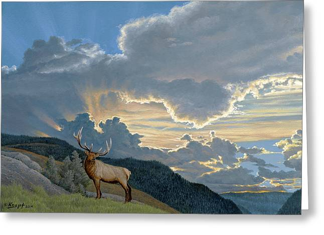 Big Sky-bull Elk Greeting Card by Paul Krapf