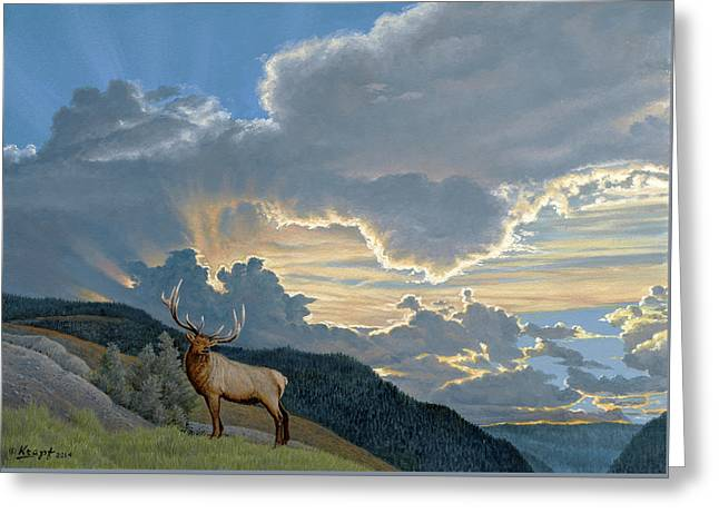 Big Sky-bull Elk Greeting Card