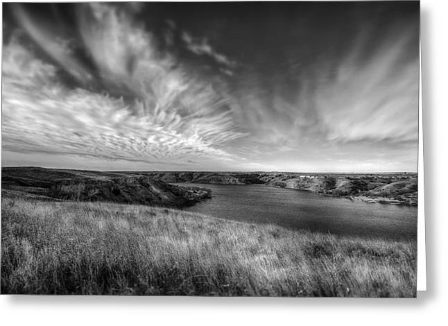 Big Sky Country In Black And White Greeting Card