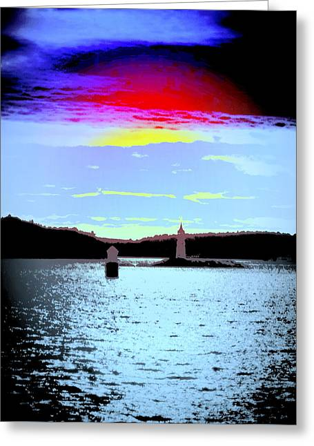 A Dark Night With A Big Sky But Small Lighthouses Greeting Card by Hilde Widerberg