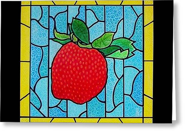 Big Stained Glass Strawberry Greeting Card by Jim Harris