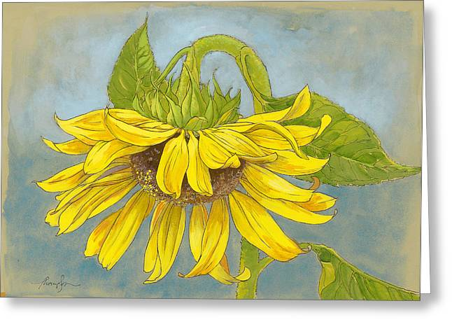 Big Sunflower Greeting Card by Tracie Thompson