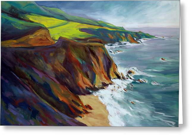 Greeting Card featuring the painting Big Sur 1 by Konnie Kim