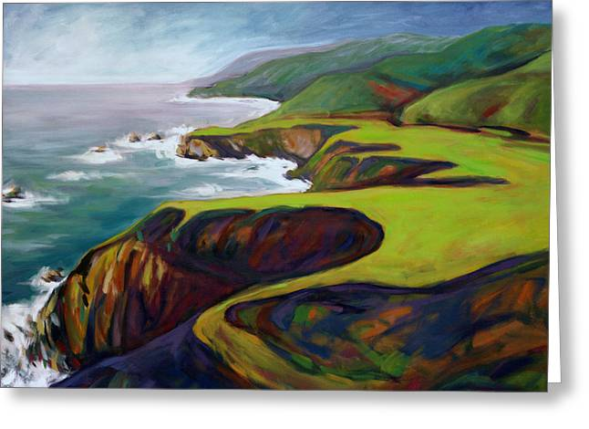 Greeting Card featuring the painting Big Sur 2 by Konnie Kim