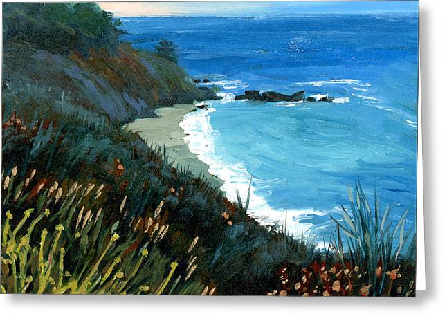 Big Sur Coastline Greeting Card by Alice Leggett