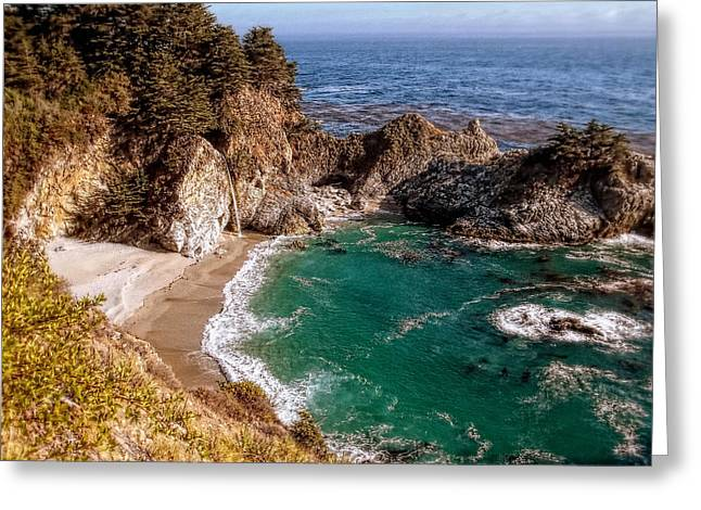 Big Sur - Mcway Falls Greeting Card by Glenn McCarthy Art and Photography