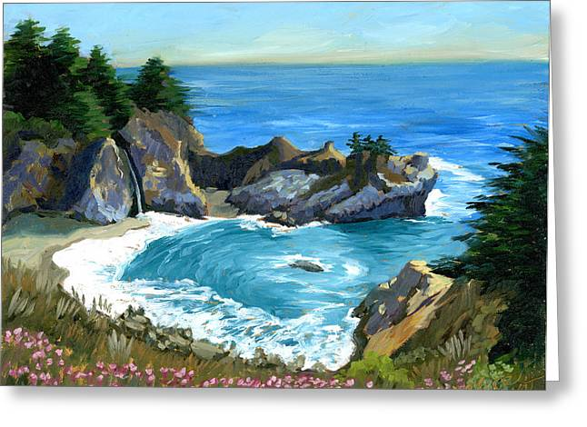Big Sur Waterfall Greeting Card by Alice Leggett