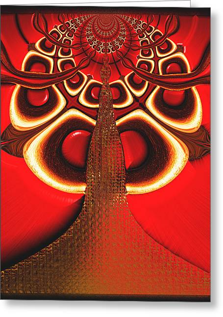 Greeting Card featuring the digital art Big Tree From The Red Forest by Wendy J St Christopher