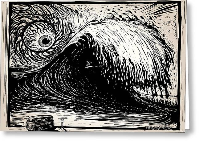 Big Wave Greeting Card by Bomonster