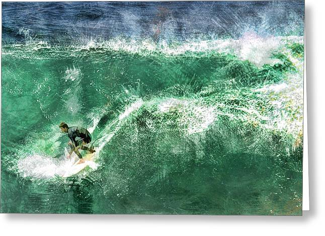 Big Wave Surfing Greeting Card by Elaine Plesser