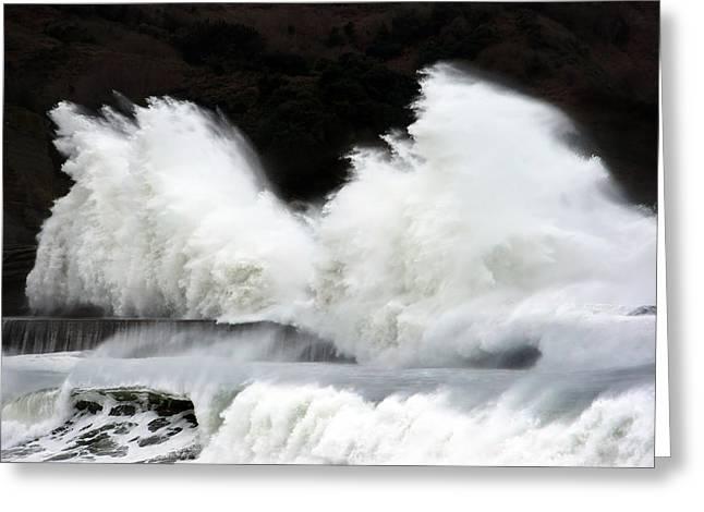 Big Waves Breaking On Breakwater Greeting Card