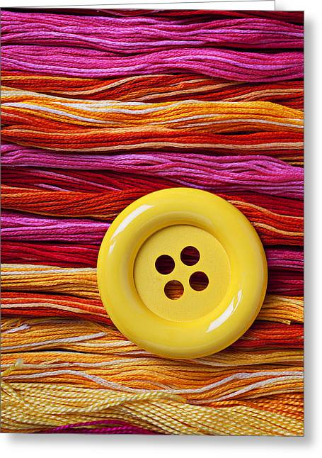 Big Yellow Button  Greeting Card by Garry Gay