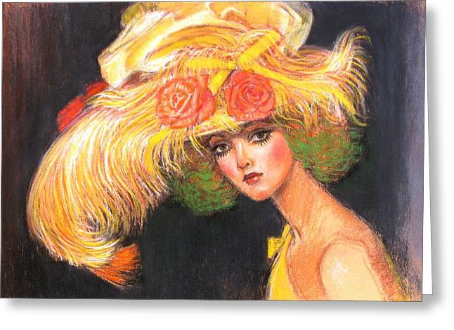 Greeting Card featuring the painting Big Yellow Fashion Hat by Sue Halstenberg