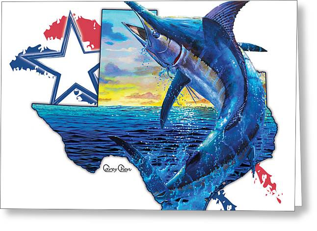 Bigger In Texas Greeting Card by Carey Chen