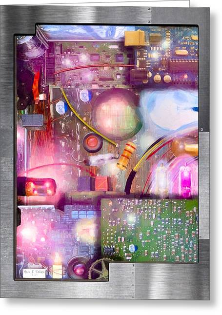 Bigger On The Inside - Techno Magic Greeting Card by Mark E Tisdale