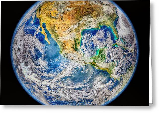 Biggest Image Of Earth Ever N. A. S. A Greeting Card by Bob and Nadine Johnston